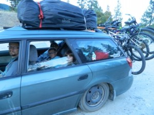 Caspian the Subaru loaded down and groaning